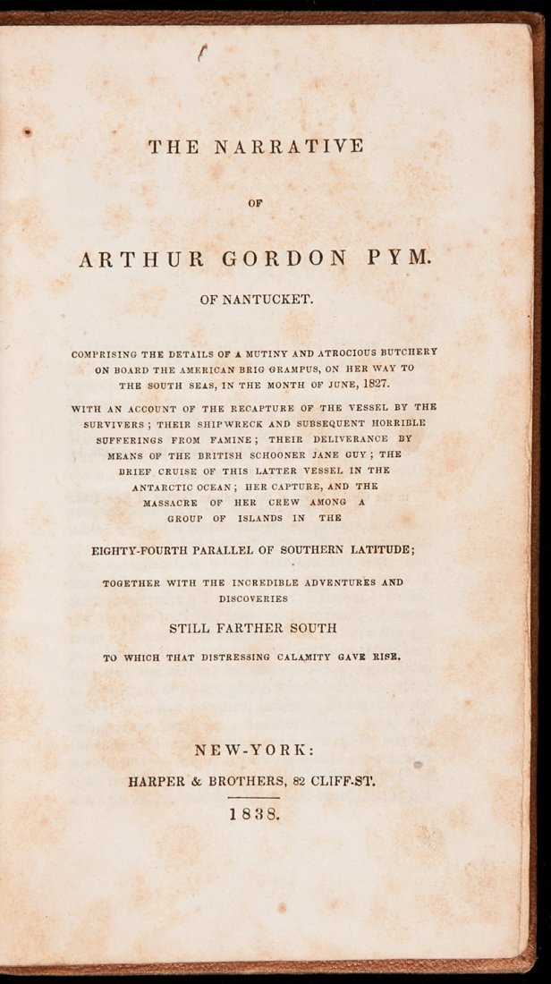 276: Poe's Arthur Gordon Pym 1st ed. 1838