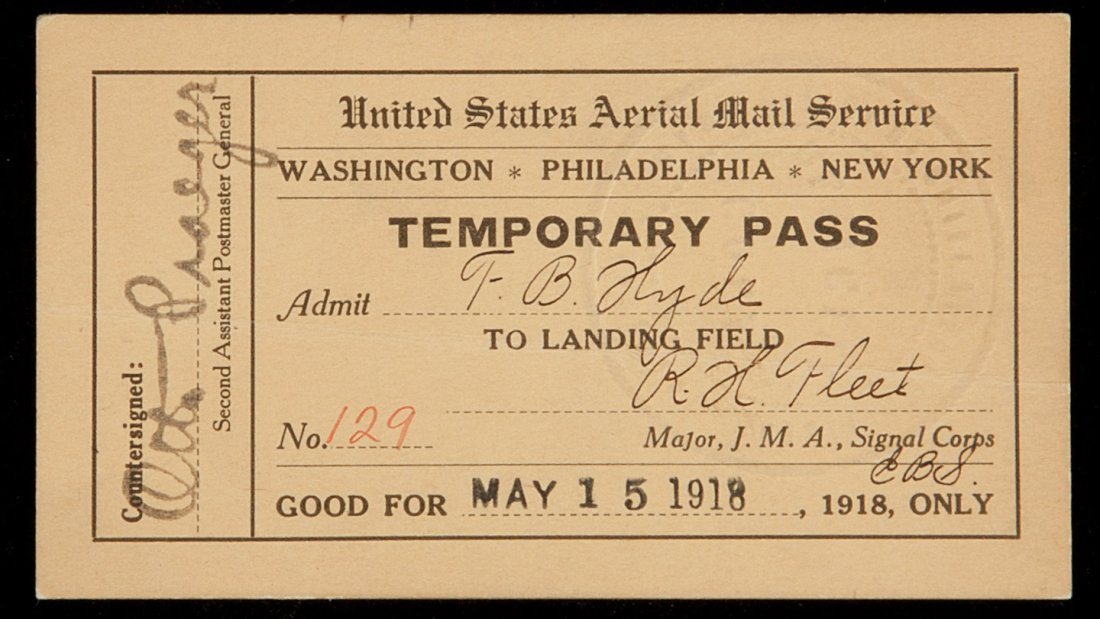 1: United States Aerial Mail Service pass 1918