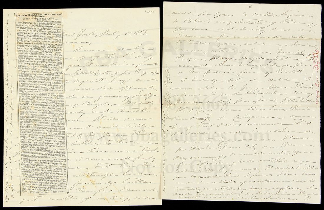 16: Letter from John Bigler to Henry Haight