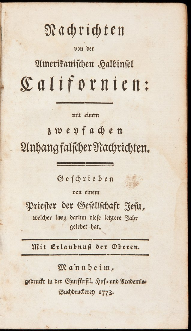 22: Early Jesuit account of California 1773