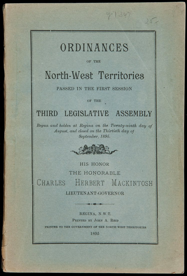 134: Ordinances of the North-West Territories 1895