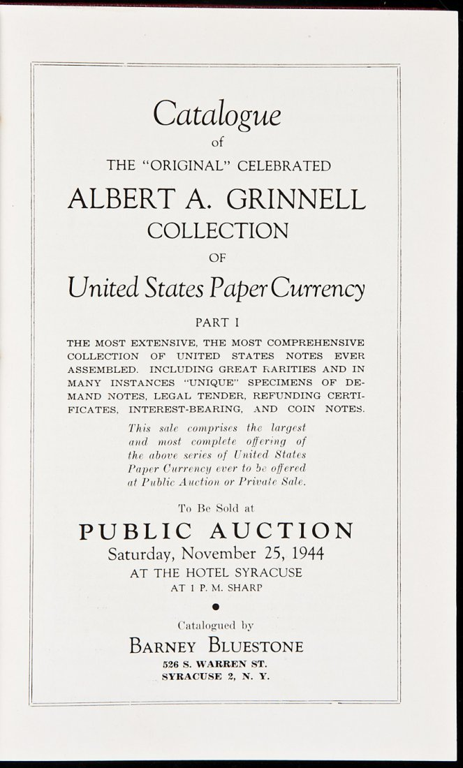 135: Grinnell collection of U.S. paper currency