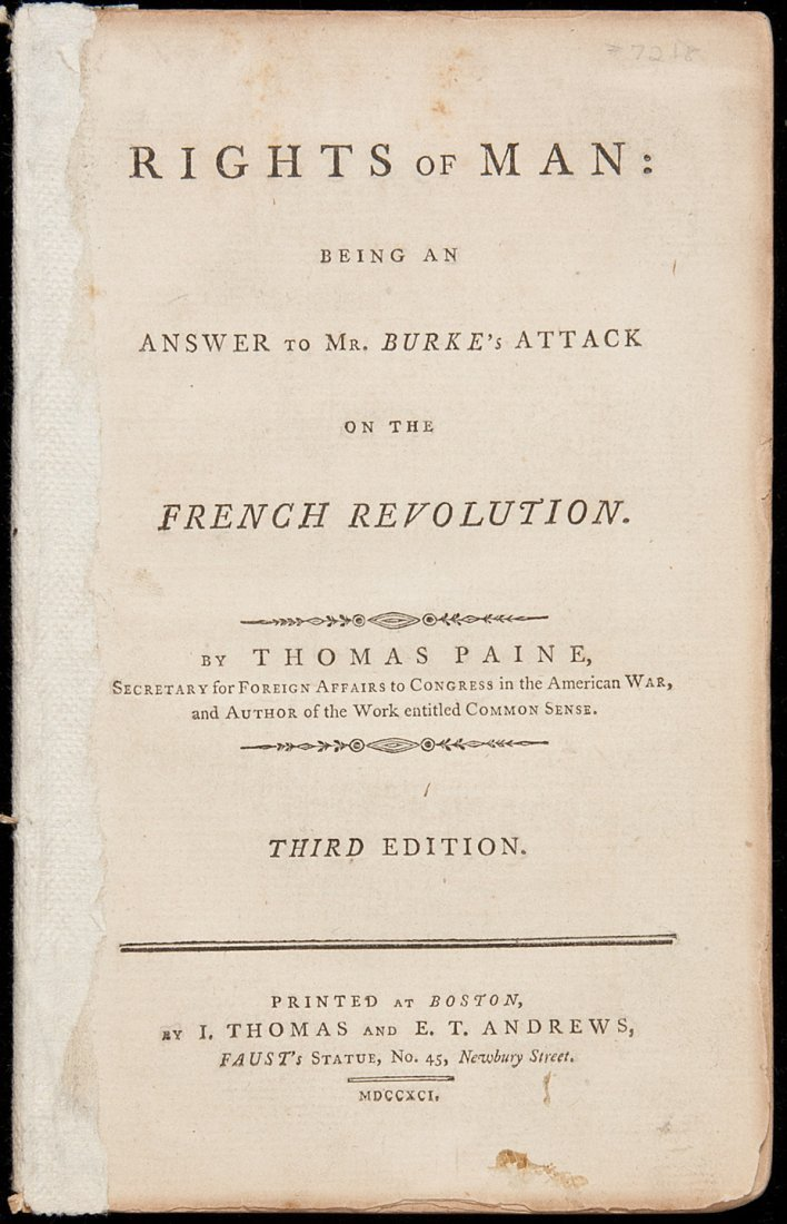 141: 1st Boston Edition of Paine's Rights of Man 1791