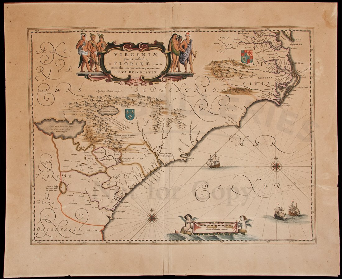 321: Blaeu map of Virginia 1640