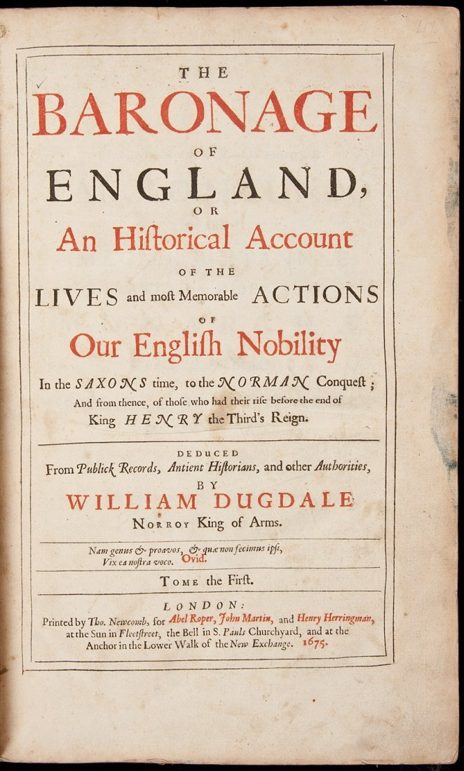 55: Baronage of England by Wm Dugdale 1675-76