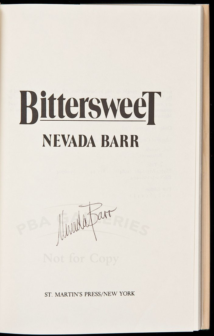 23: Nevada Barr's first book Bittersweet signed