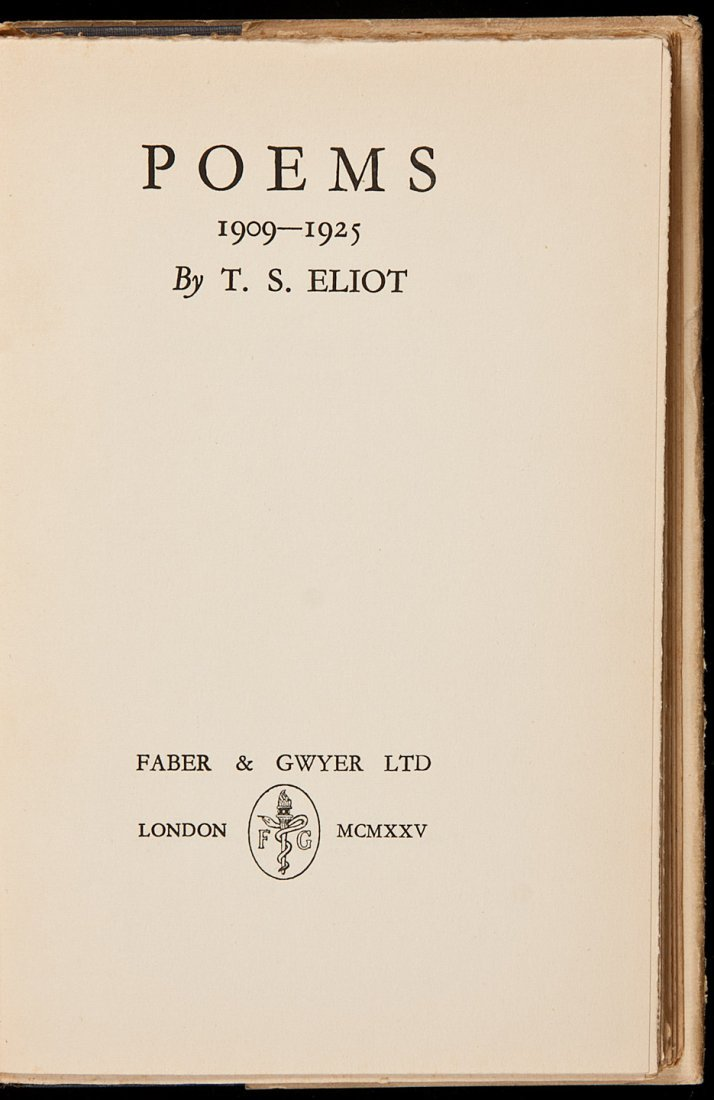 105: T.S. Eliot Poems, 1909-1925 in dust jacket - 2