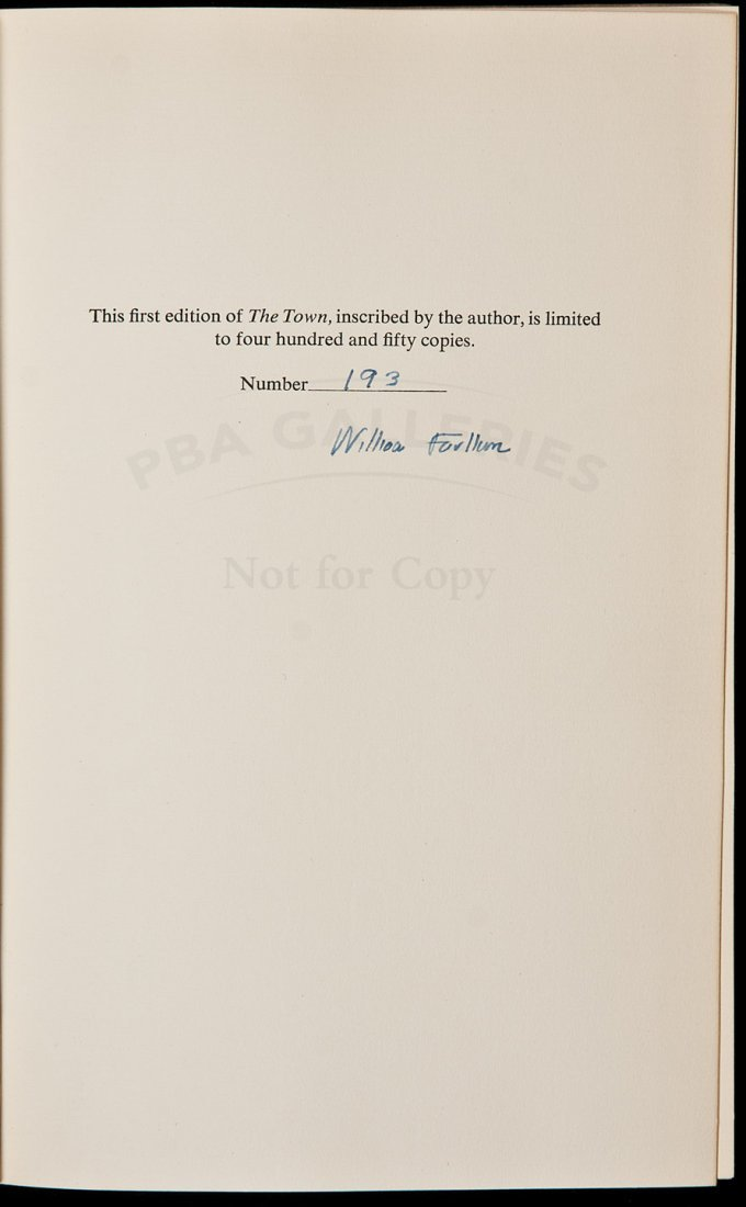 122: William Faulkner The Town Signed Limited Edition