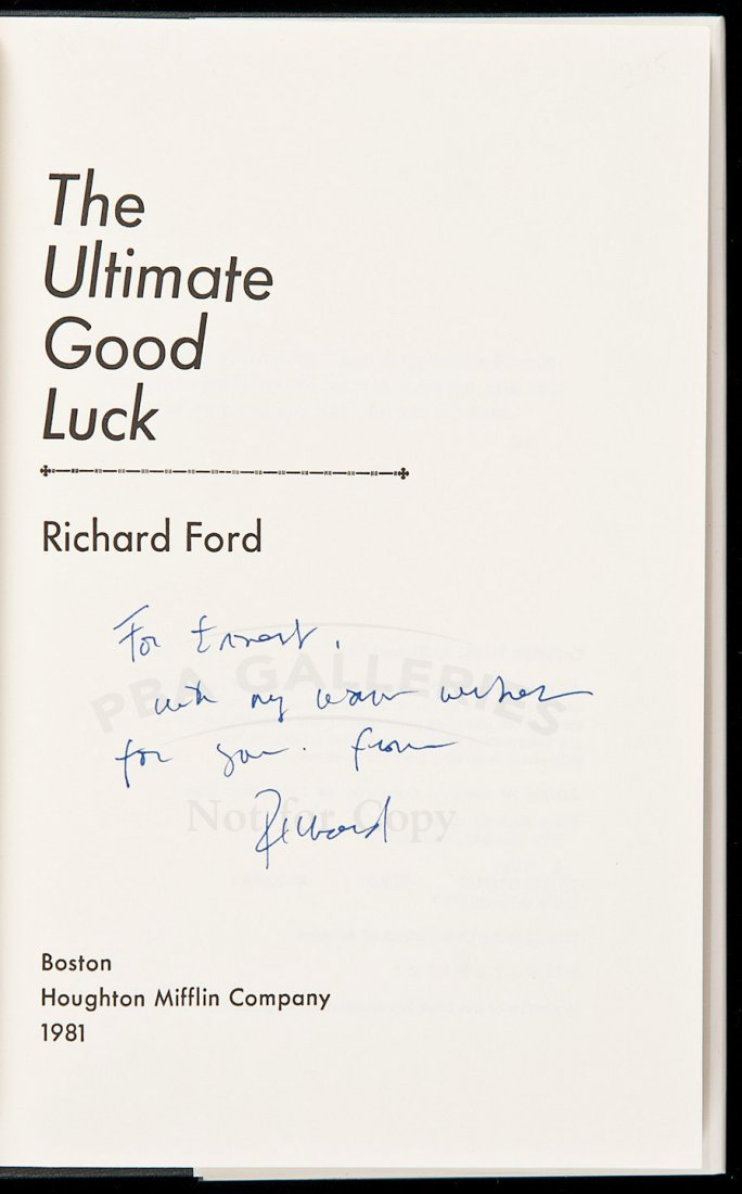 136: Richard Ford's 2nd book inscribed