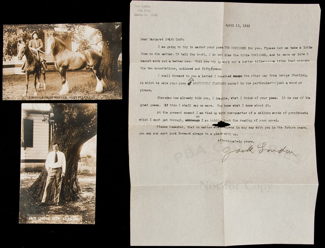 221: Letter from Jack London to Margaret Smith Cobb