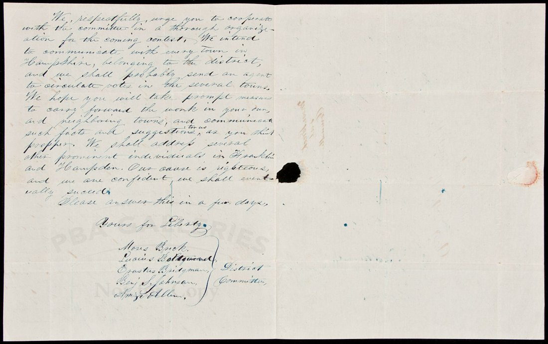 11: Anti-slavery letter from members of the Liberty P