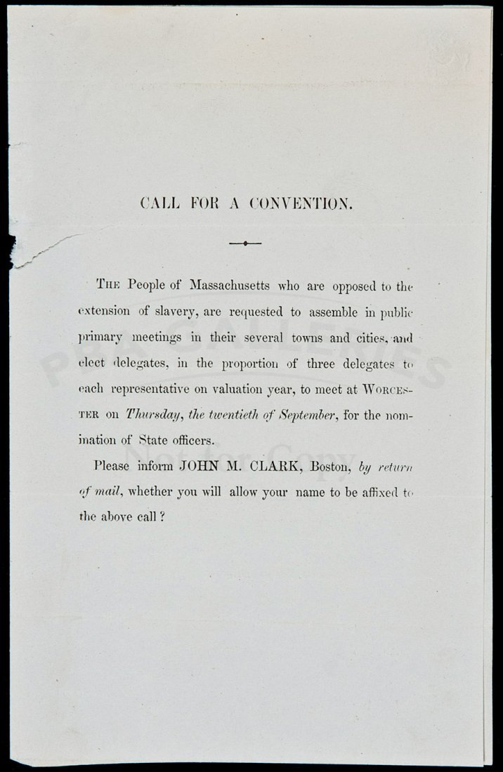 14: Call for anti-slavery convention in Massachusetts