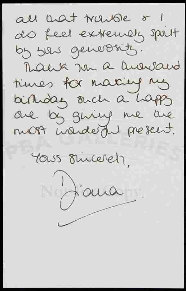 Thank you letter from Princess Diana