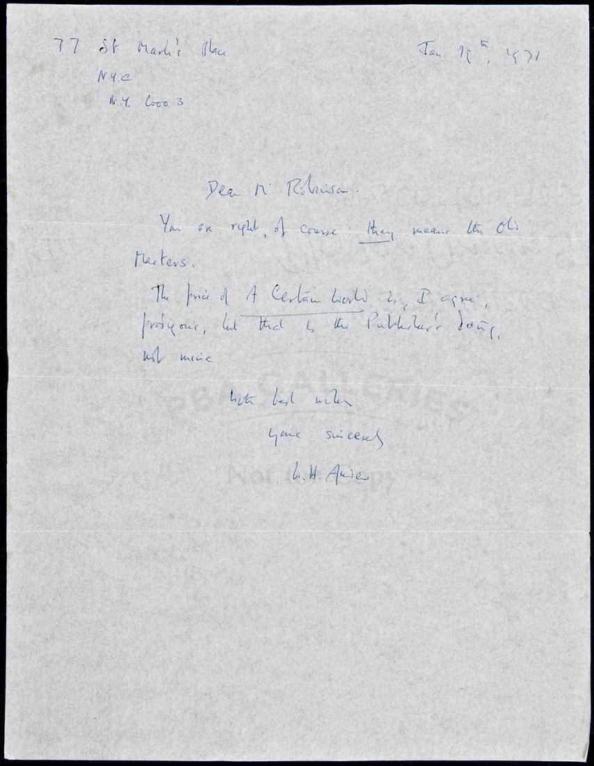 7: Autograph Letter Signed by W.H. Auden