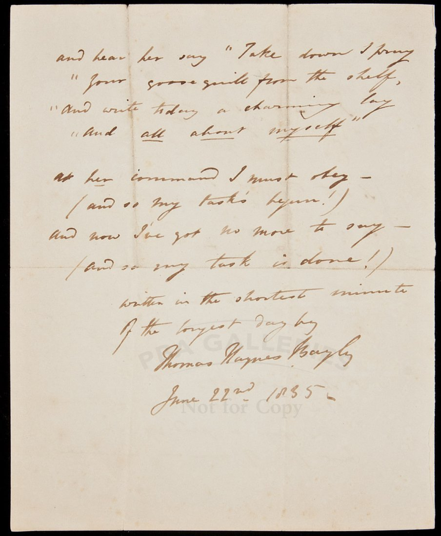 """12: """"A Ditty"""" - Autograph poem, signed Thos Bayly"""