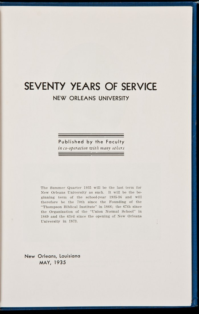6: Seventy Years of Service: New Orleans University