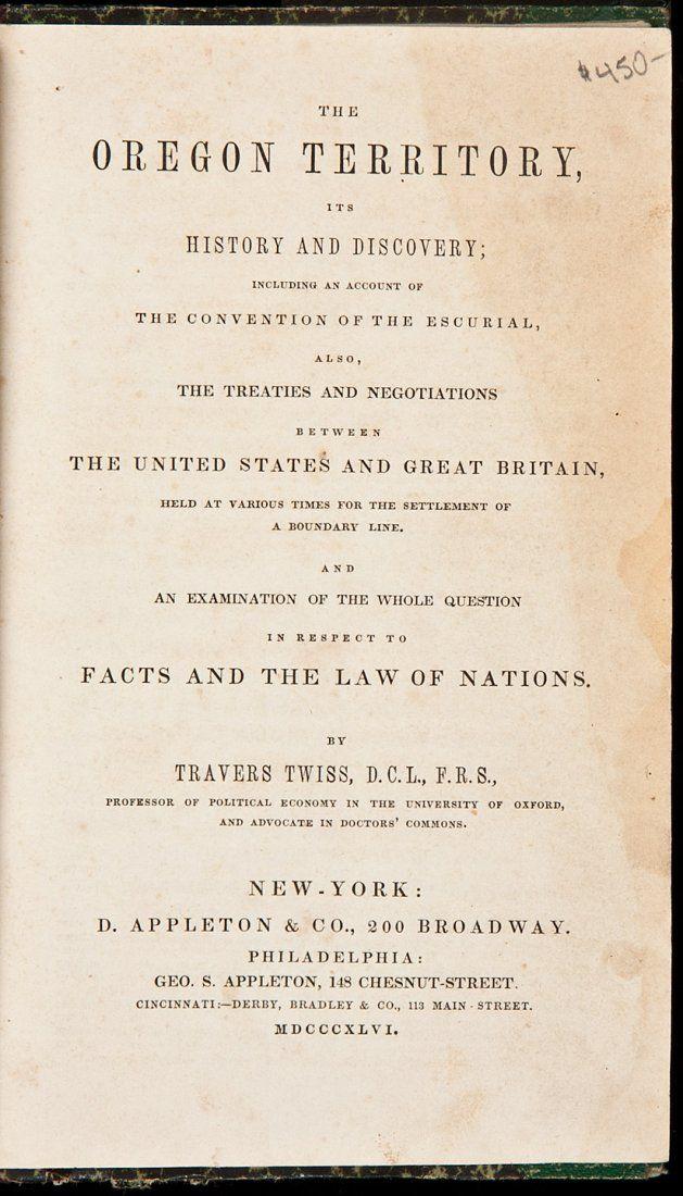 Travers Twiss's Oregon Territory 1846