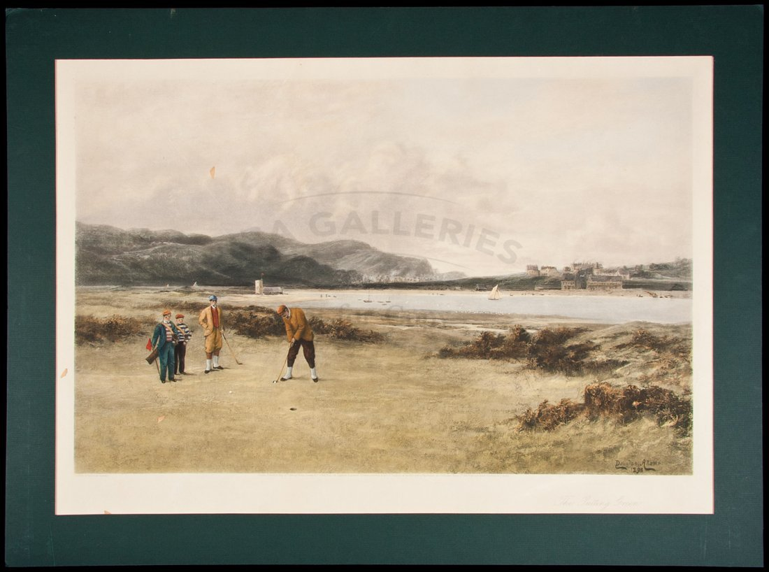 """2: """"The Putting Green"""" – hand-colored print, framed"""