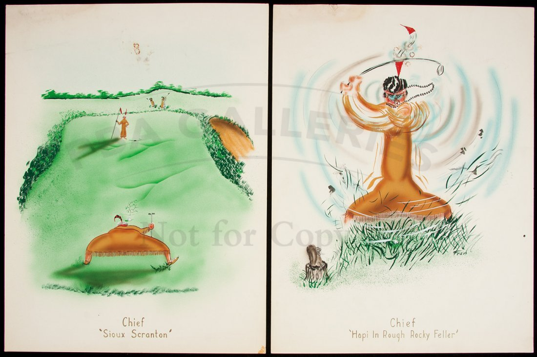 9: 8 paintings of golfing poltical figures