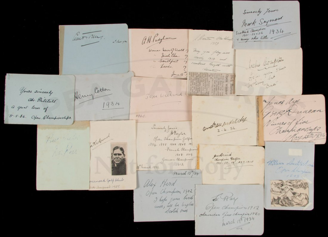 16: Collection of 17 autographs of golfers