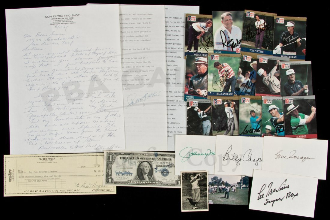 19: golf cards, signed and other signed items