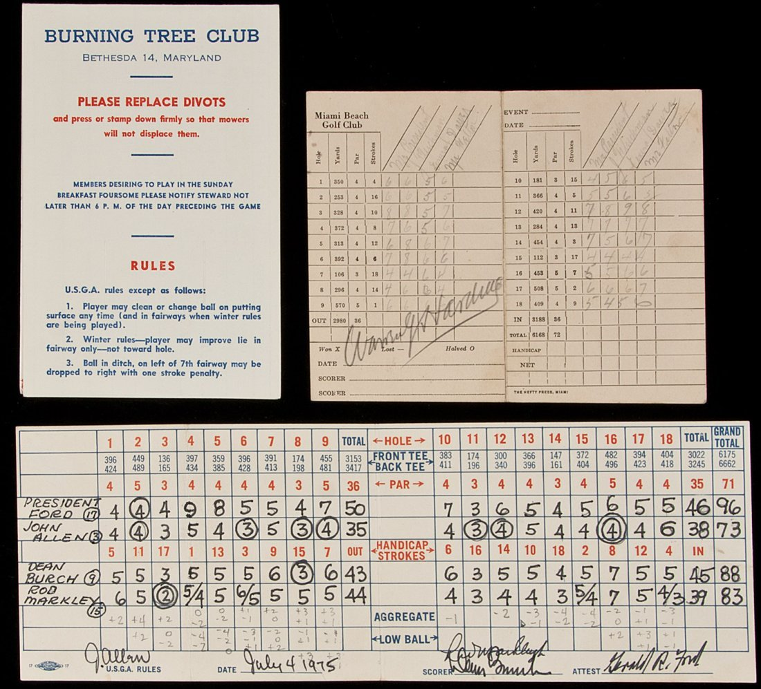 22: Three golf score cards, signed by US Presidents