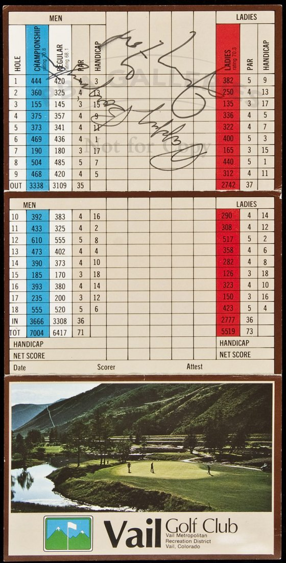 23: golf scorecard sgnd by Gerald Ford