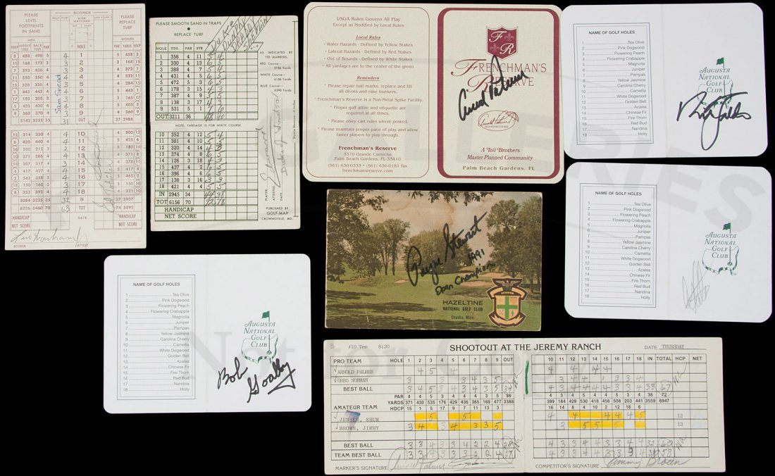 24: 8 golf score cards, signed by golfers