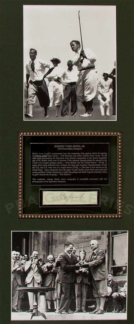 170: Bobby Jones autograph, framed with two photograph