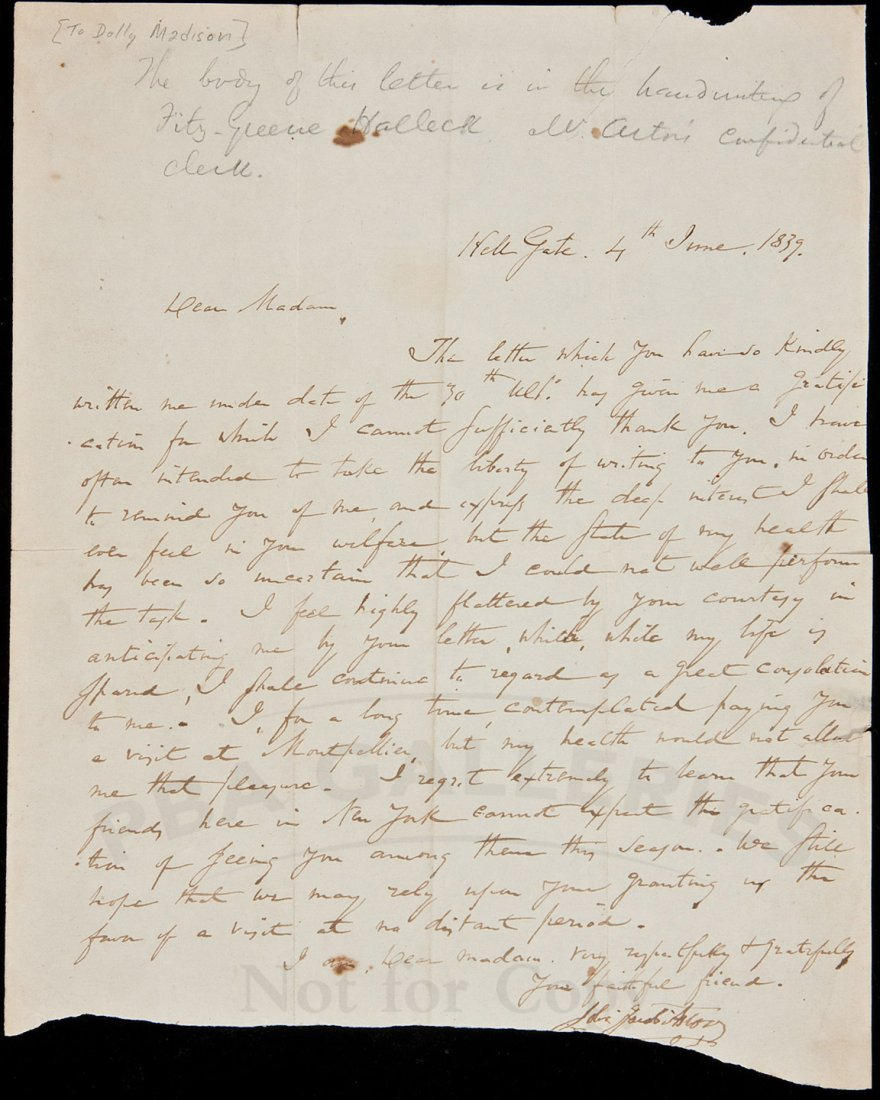 22: ALs from JJ Astor to Dolley Madison