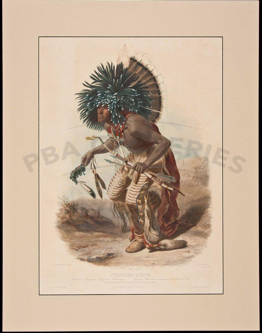 41: Bodmer hand-colored aquatint of Indian Warrior