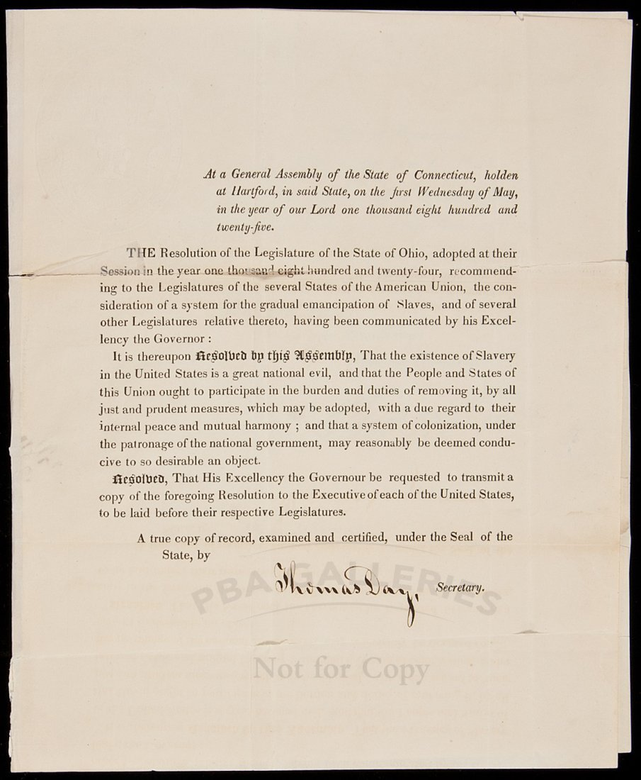 376: document to end slavery in Connecticut