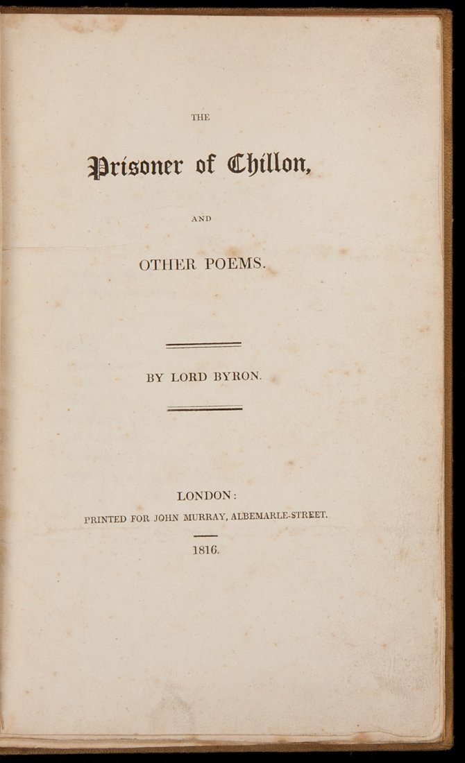16: Two first editions by Lord Byron