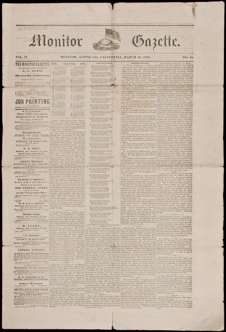 11: Rare newspaper from Monitor California
