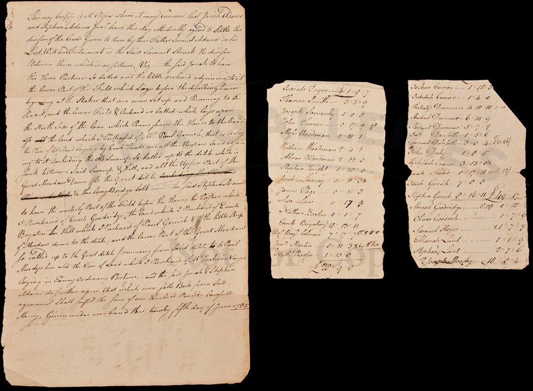 2: MSS doc dividing land btwn 2 heirs 1785 USA