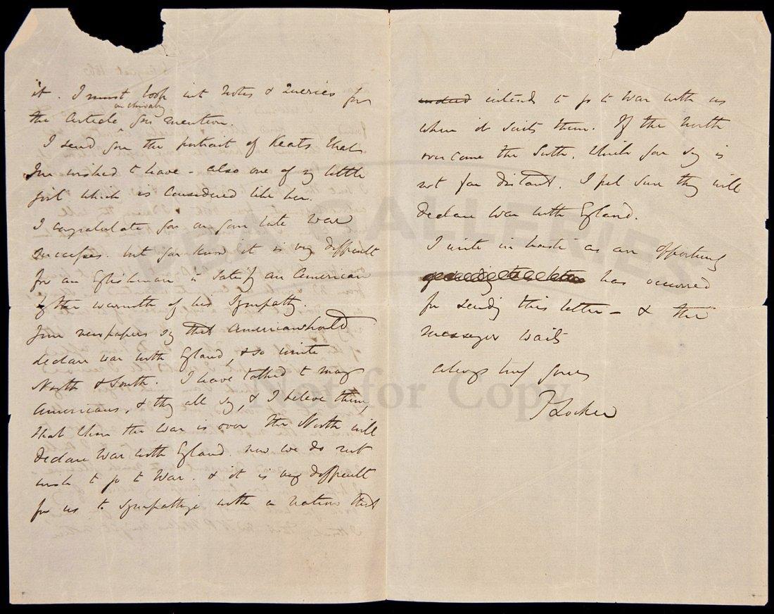 6: ALs from F. Locker, British author about US 1861