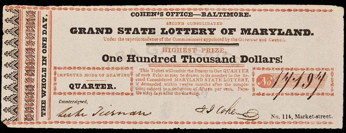 7: quarter share lottery ticket Maryland, c1818
