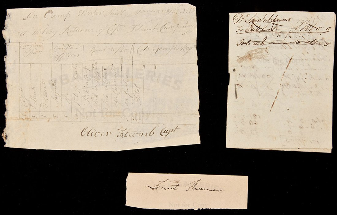 10: Autograph note listing officers Winter Hill 1878