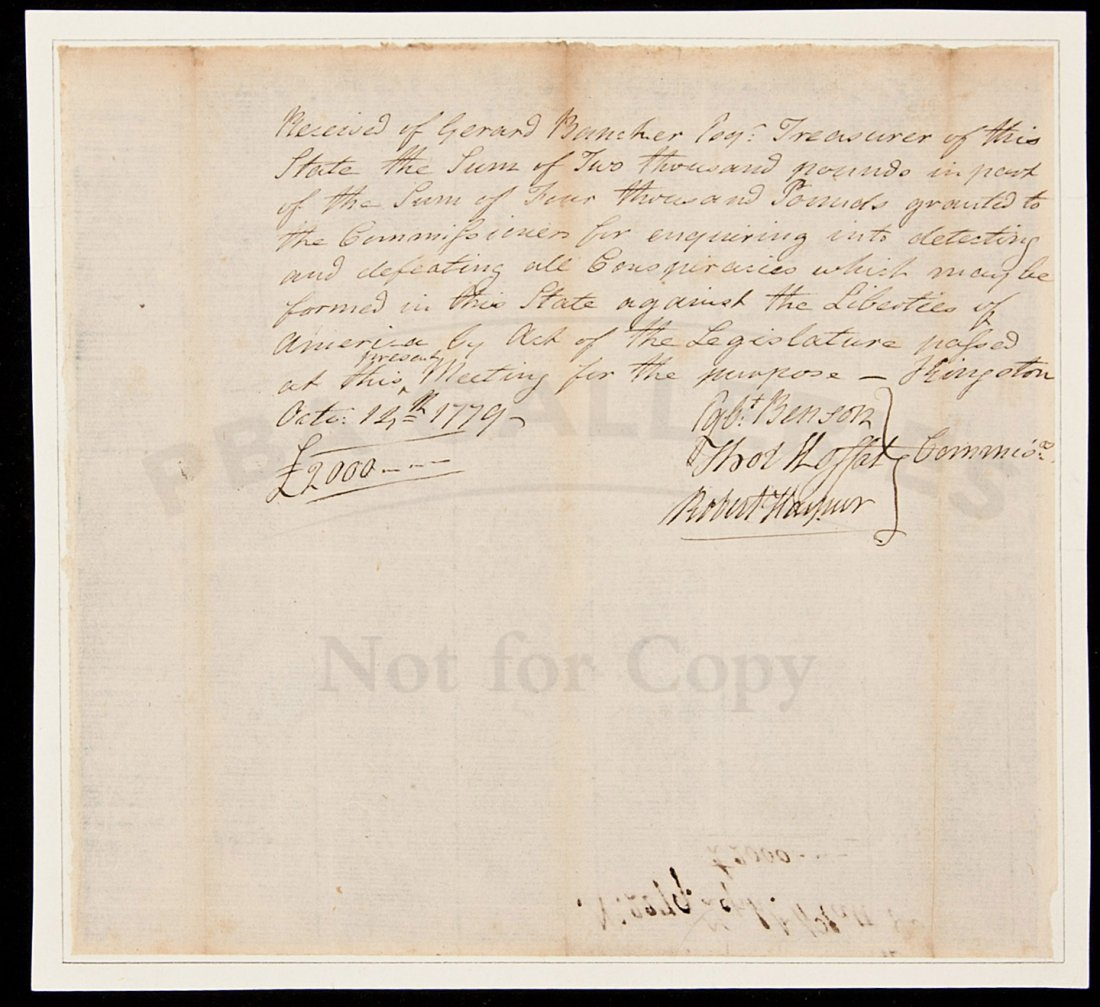 14: MSS doc signed by Egbert Bendon 1779