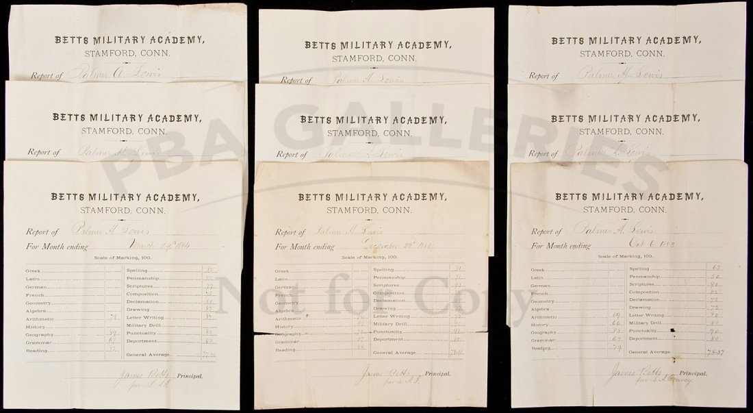 15: 9 report cards from Betts Military Academy 1883
