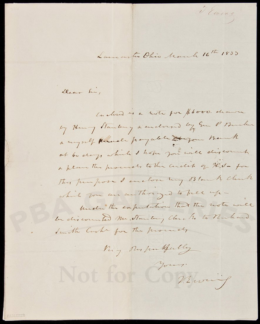 16: ALs from Thos Ewing to Nicholas Biddle 1855