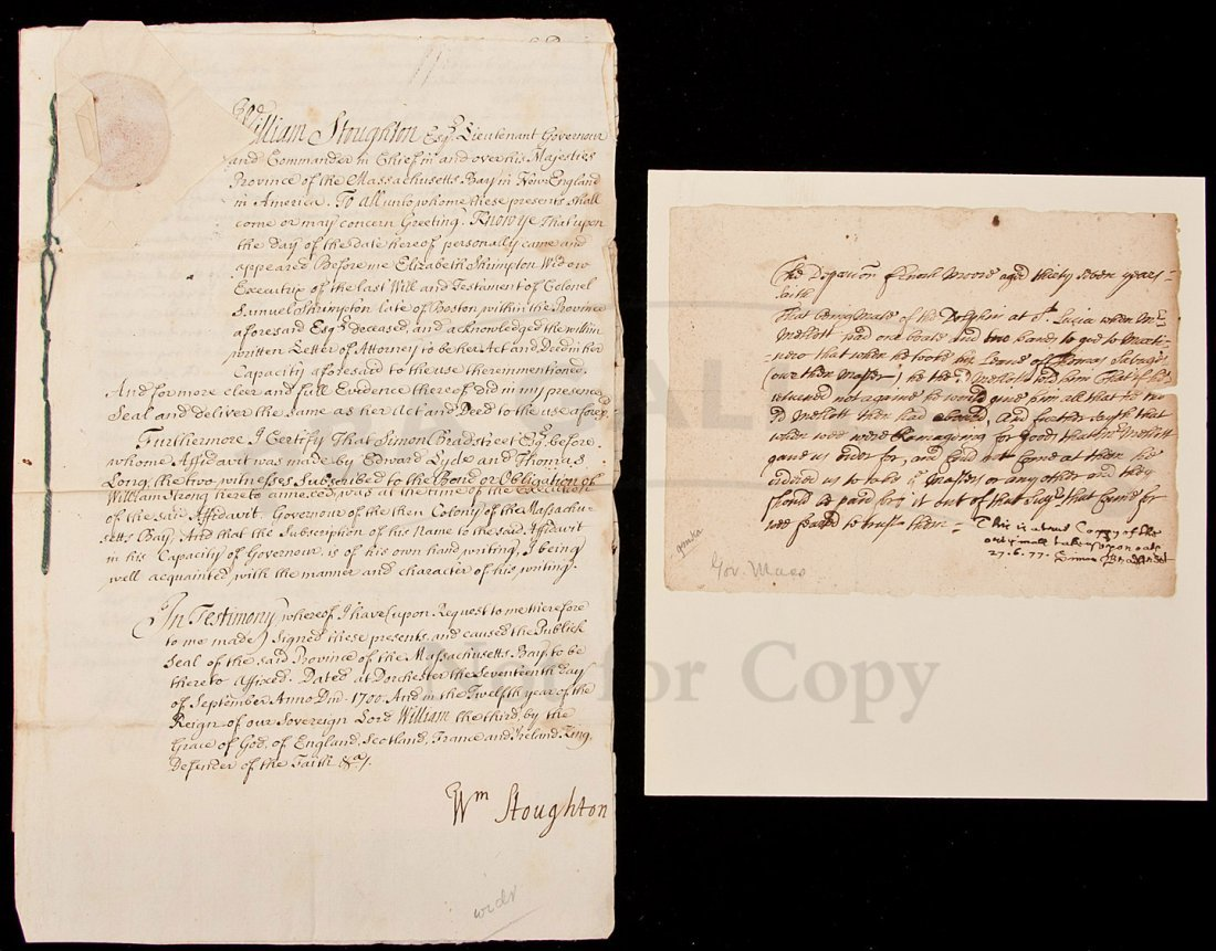 21: deposition document signed by Simon Bradstreet