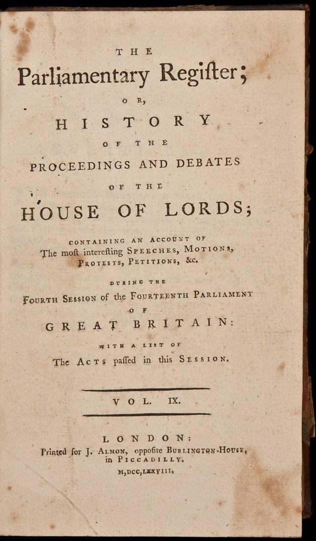 9: Parliamentary Register 1777 & 1778