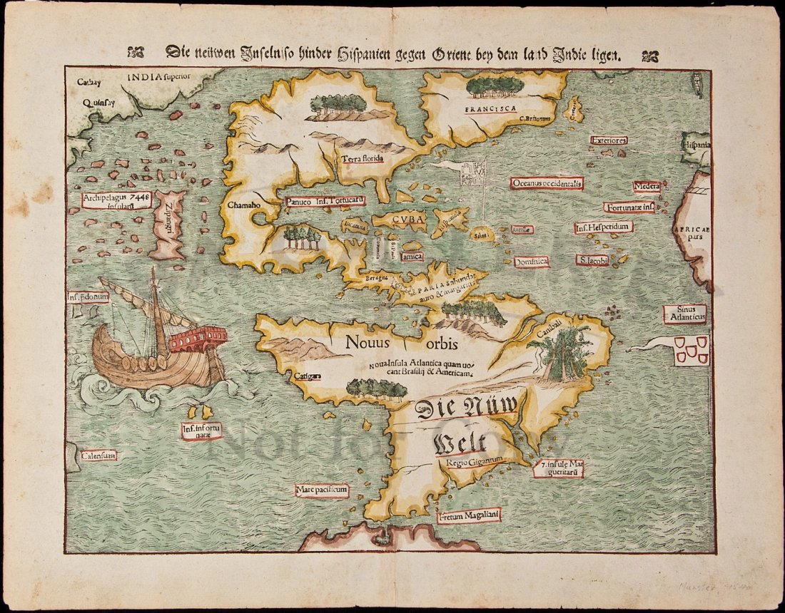 441: Muenster's map of the Americas, 1574