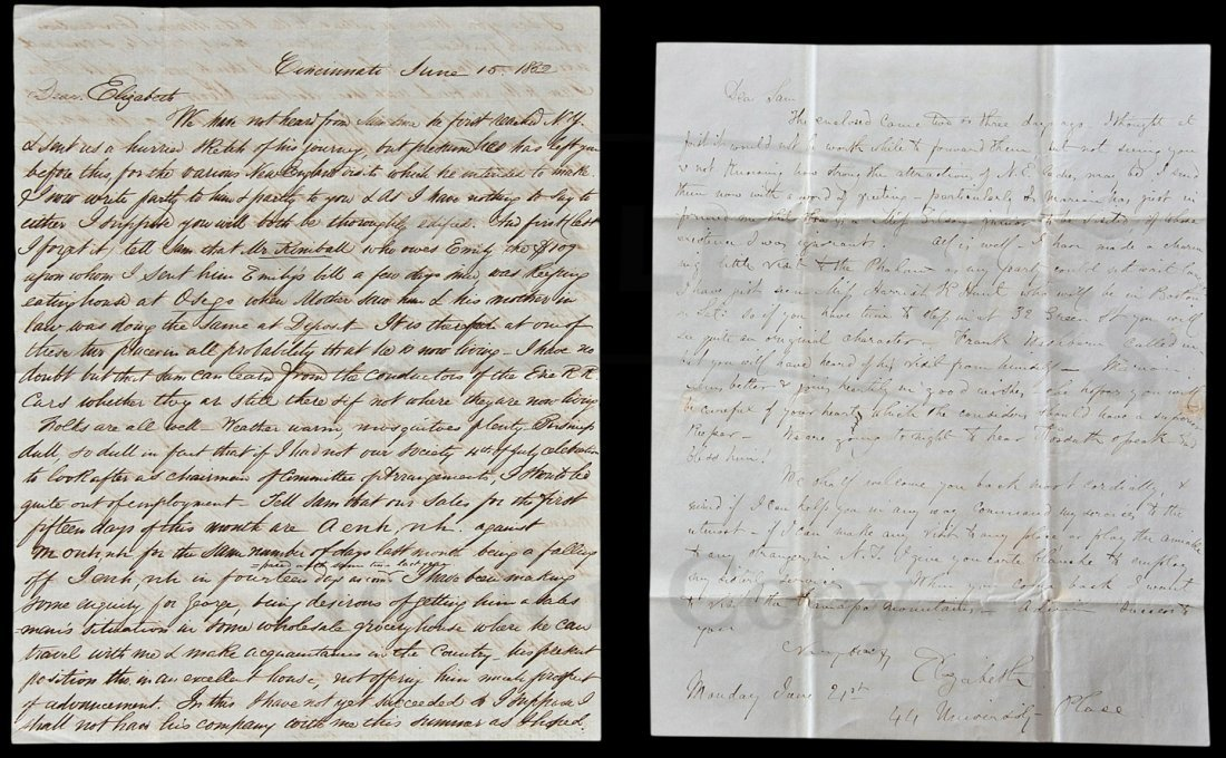 9: ALs from 1st US woman dr. Eliz Blackwell 1852