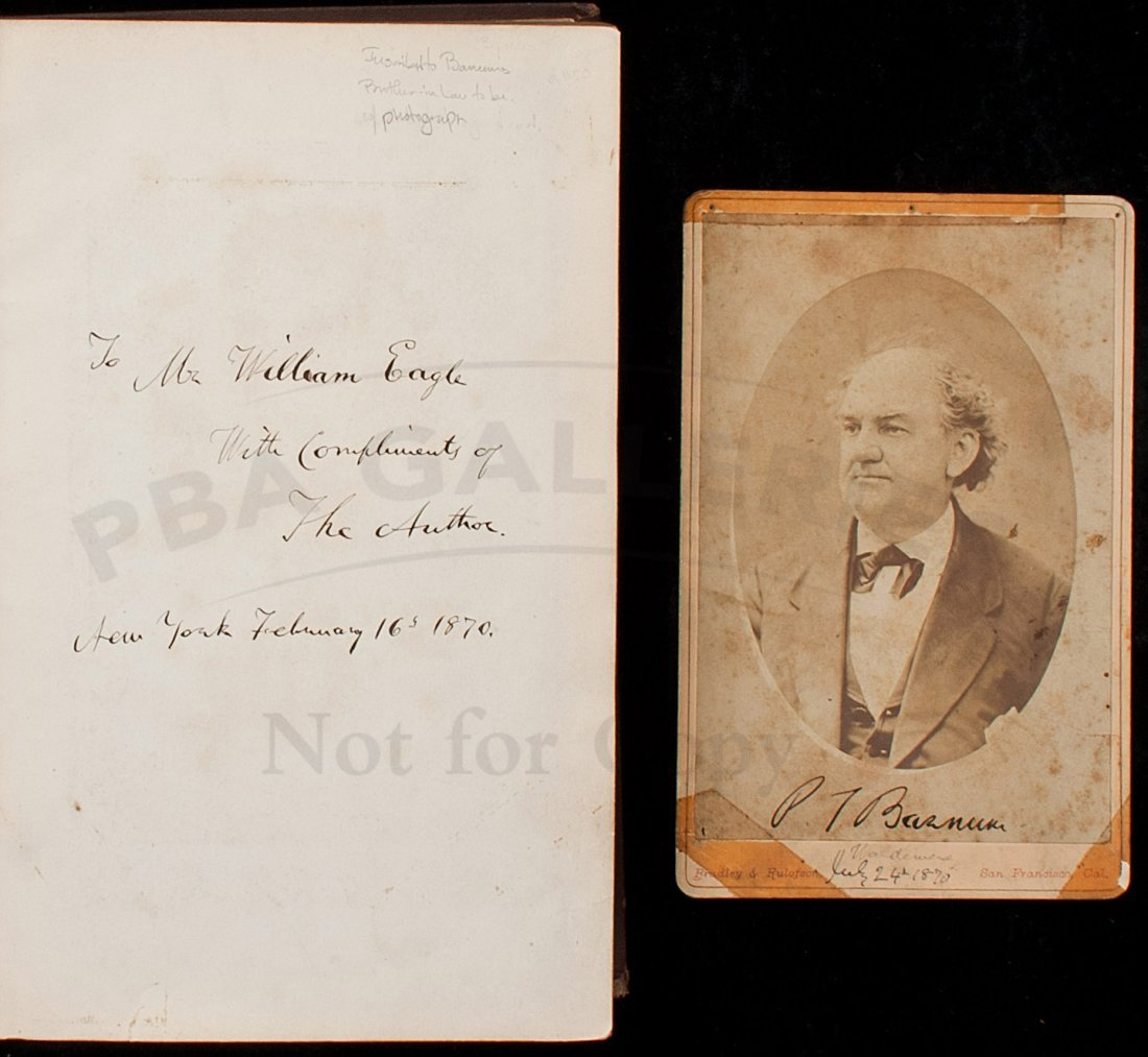 PT Barnum's biography inscribed to Brother in law