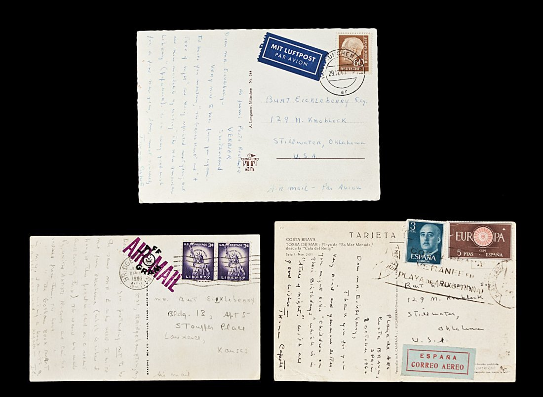 3 postcards signed by Truman Capote