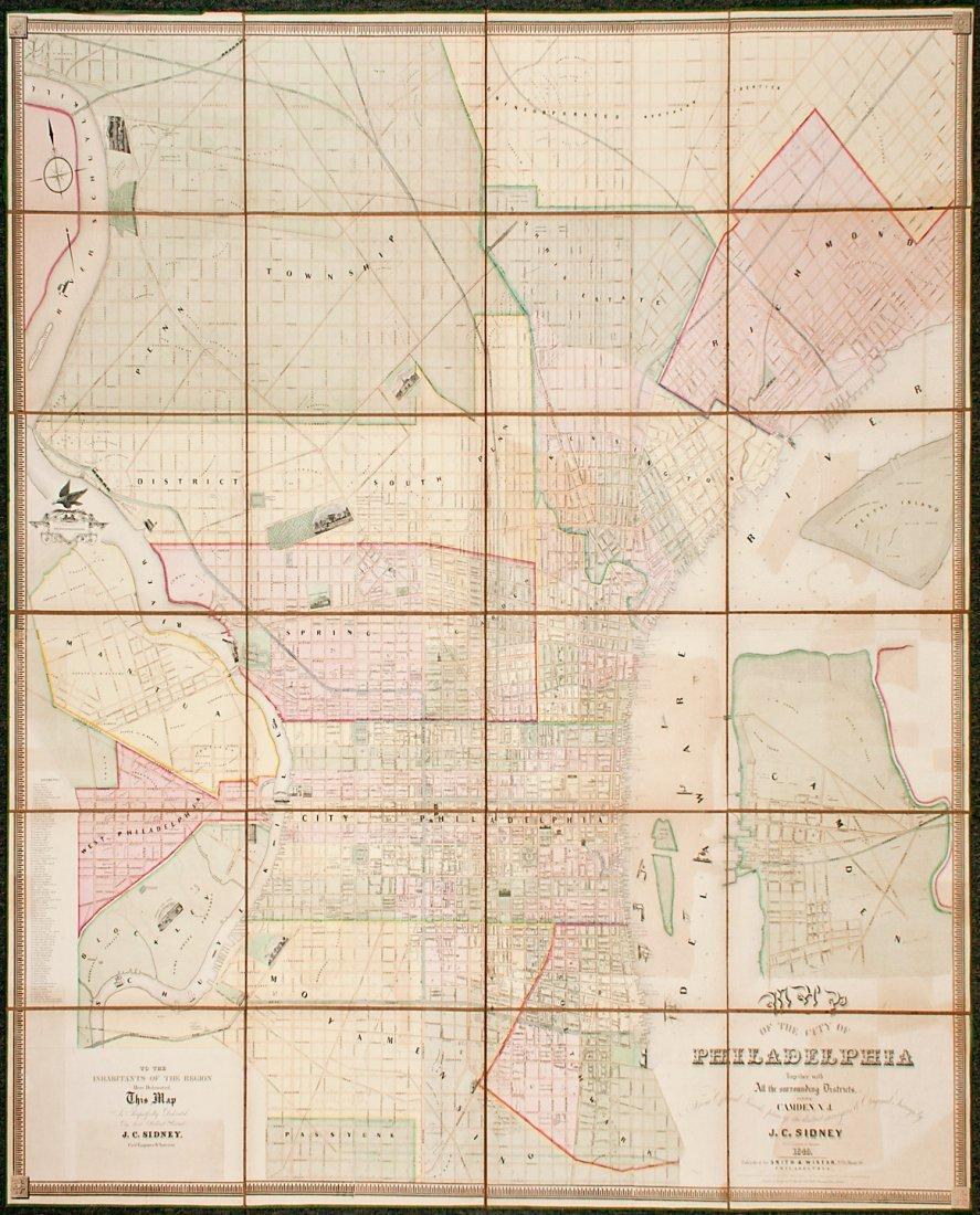 Large folding map of Phliadelphia 1849