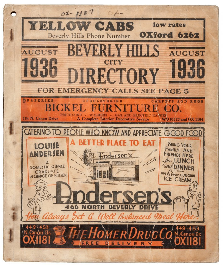 Beverly Hills City and Telephone Directory 1936