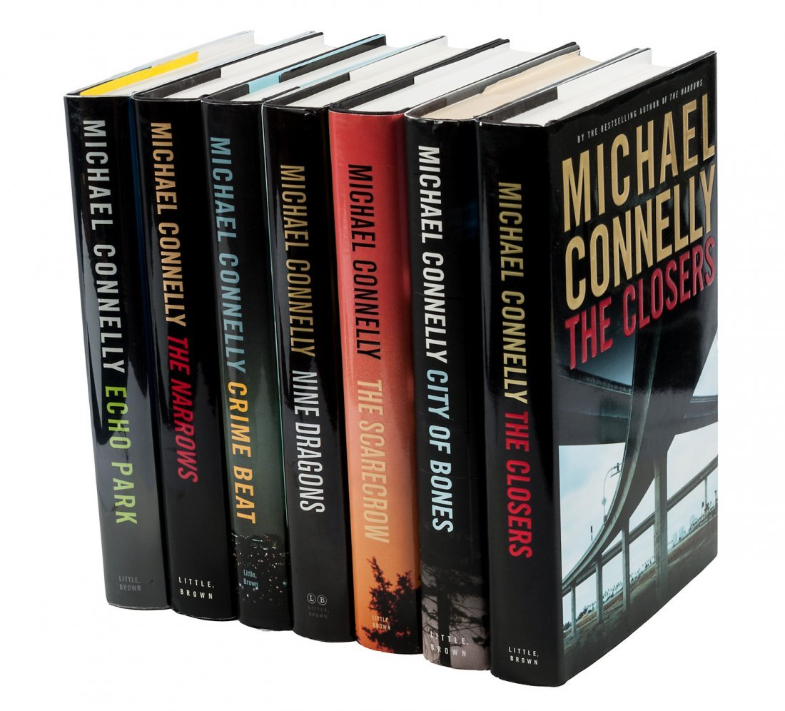 Seven novels by Michael Connelly, all inscribed